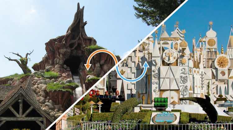 Disneyland ride: Splash Mountain / it's a small world