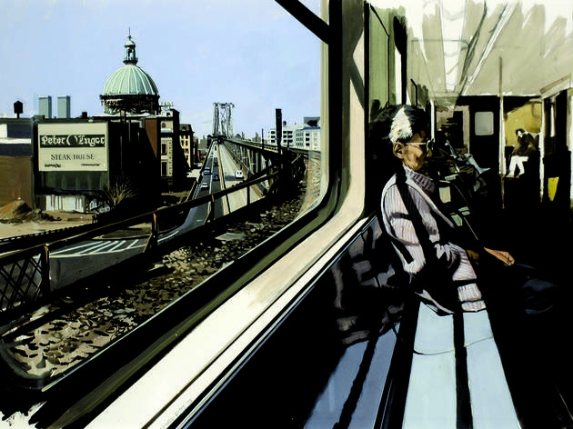 M Train on Route to Manhattan Approaches the Williamsburg Bridge, 1995