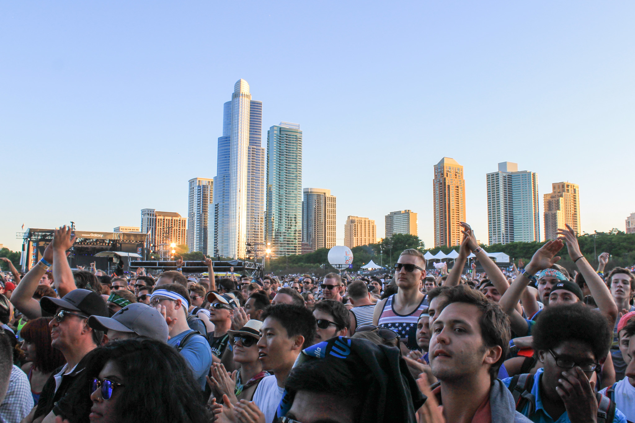 Thousands of attendees crowded into Grant Park to see bands during the first day of Lollapalooza on July 31, 2015.