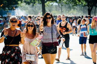 Thousands of attendees crowded into Grant Park to see bands during the first day of the Lollapalooza on July 31, 2015.