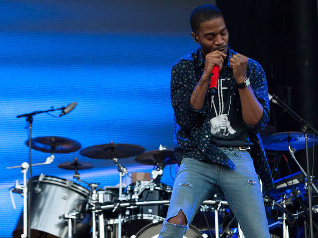 Kid Cudi turned in a set in front of a crowd of thousands at Lollapalooza on August 1, 2015.