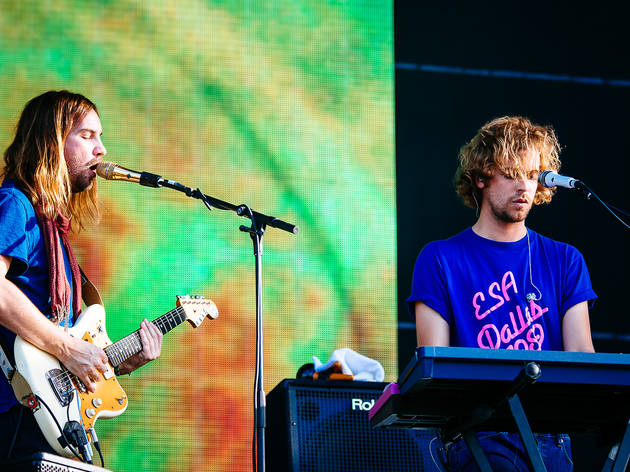 Tame Impala turned in a set in front of a crowd of thousands at Lollapalooza on August 1, 2015.