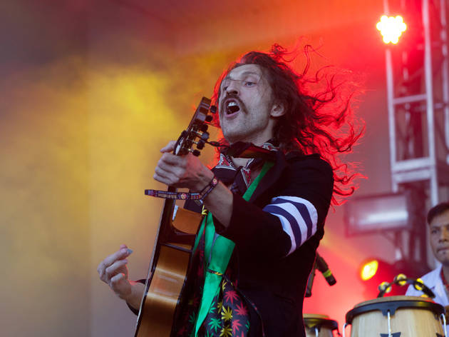 Gogol Bordello hit the stage in Grant Park on the final day of Lollapalooza on August 2, 2015.