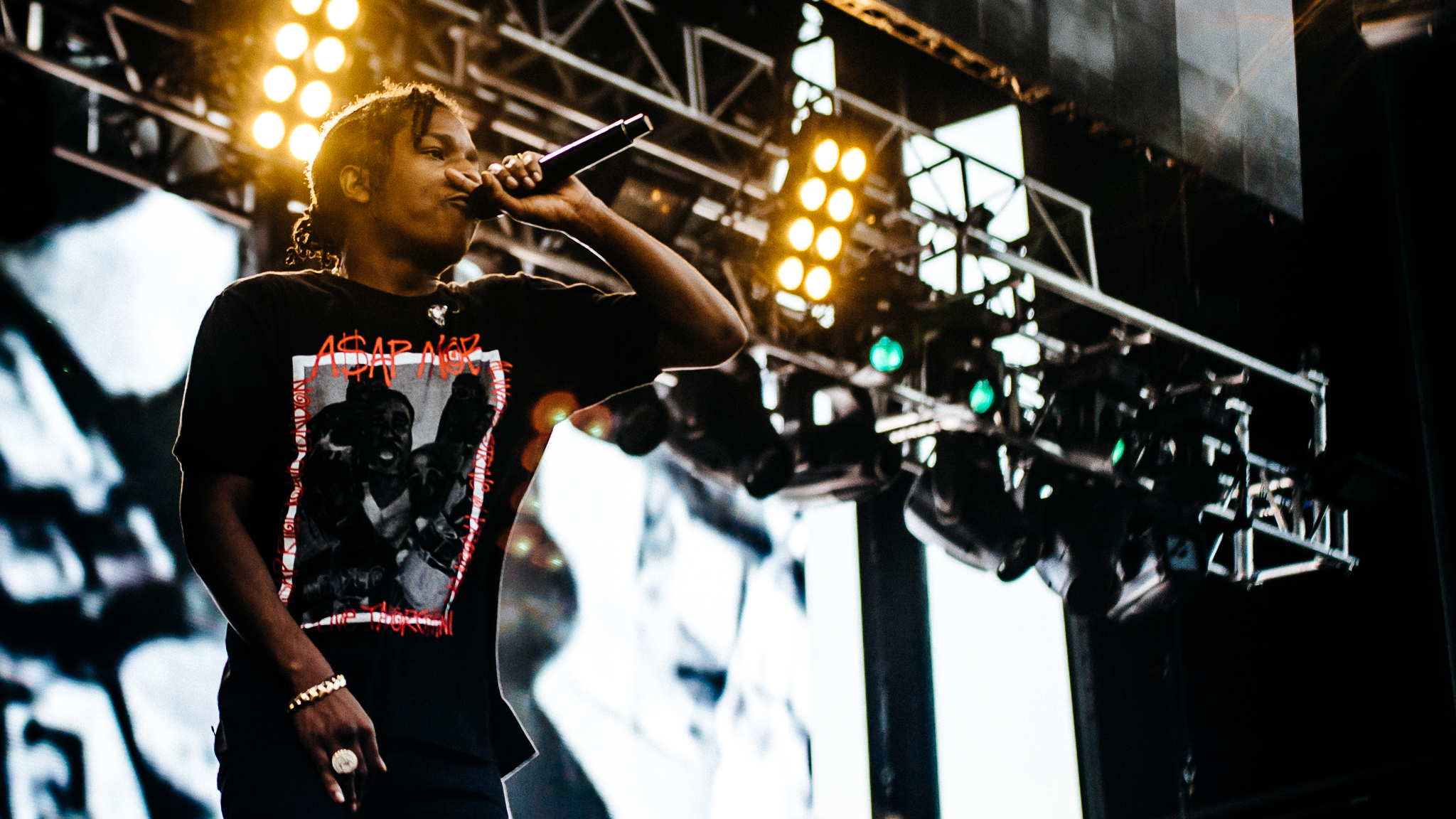 A$AP Rocky hit the stage in Grant Park on the final day of Lollapalooza on August 2, 2015.