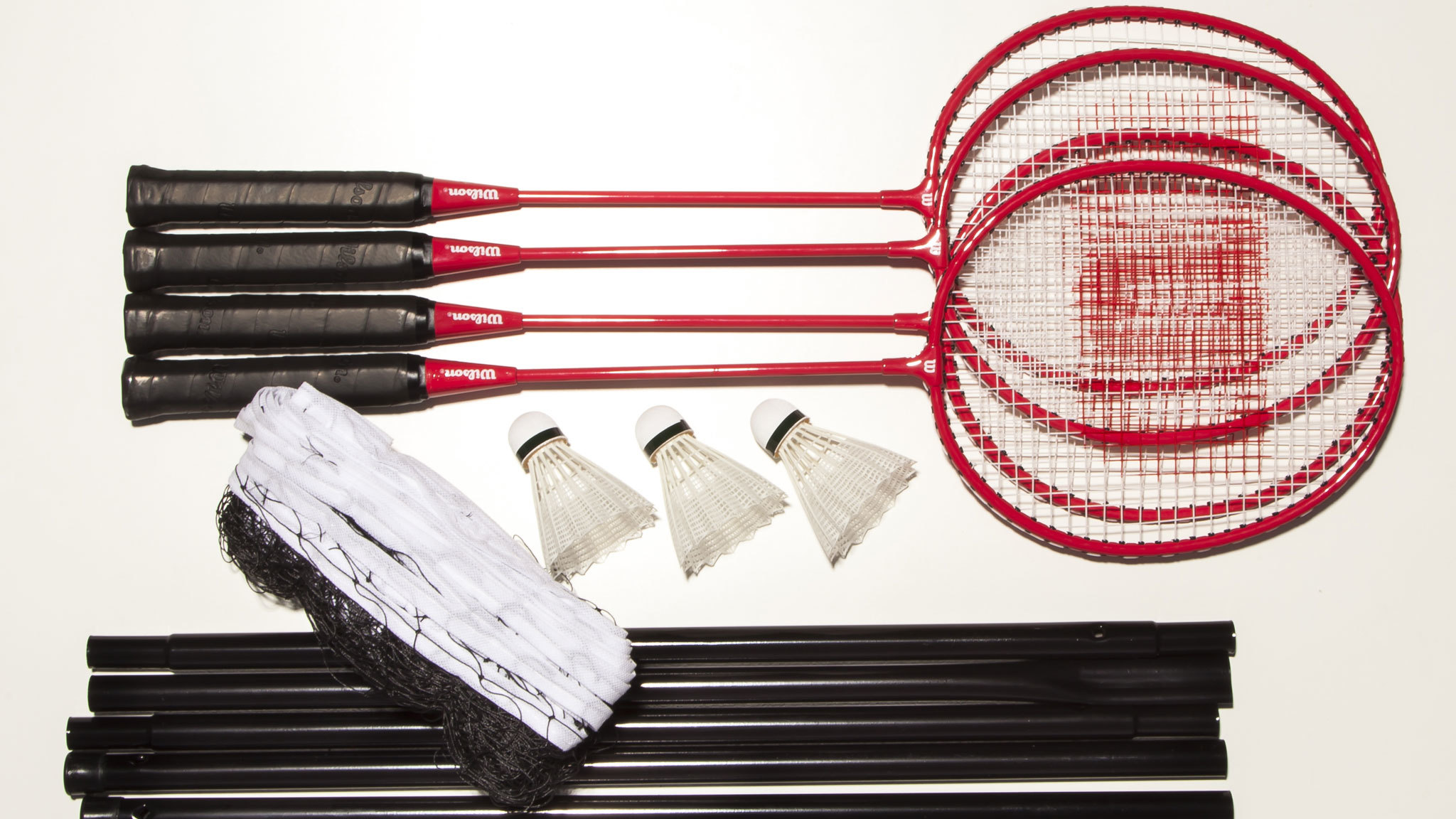 Four racket badminton set with net, post and shuttles