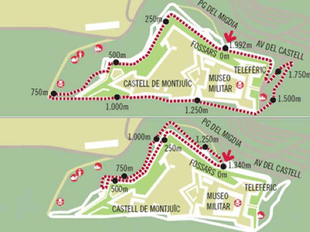 rutes amb ombra Montjuic, córrer a l'estiu