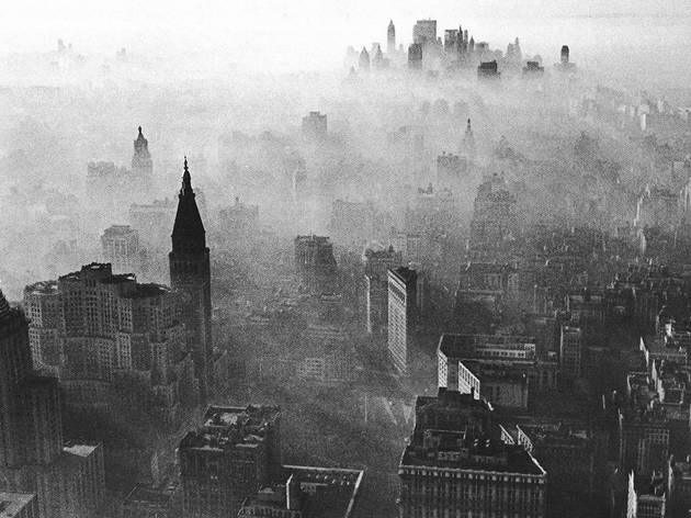 Midtown and Lower Manhattan covered in smog, 1966