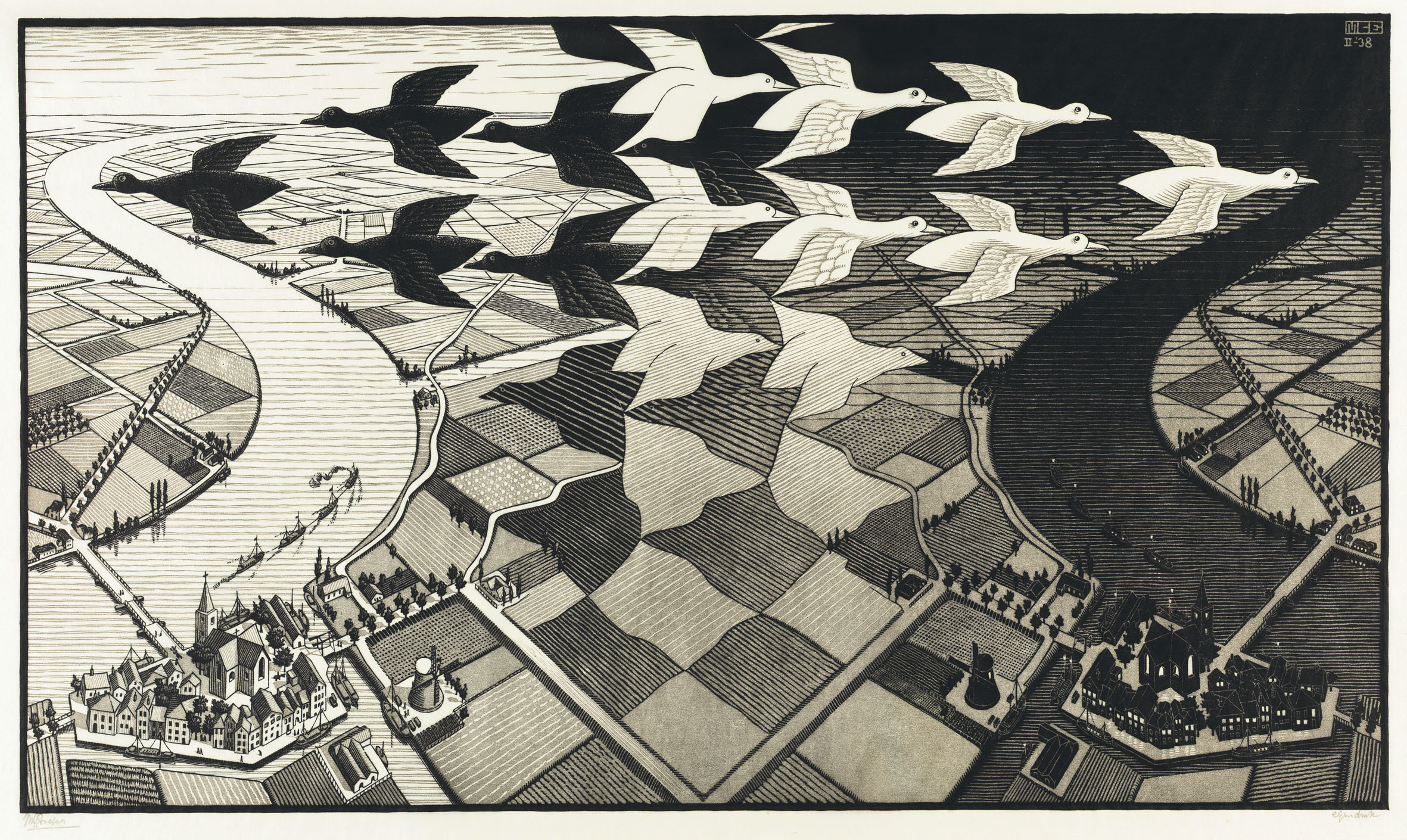 (MC Escher: 'Day and Night', 1938. © The M.C. Escher Company BV -Baarn-the Netherlands )