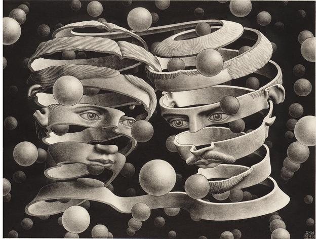 (MC Escher: 'Bond of Union', 1956. © The M.C. Escher Company BV -Baarn-the Netherlands)
