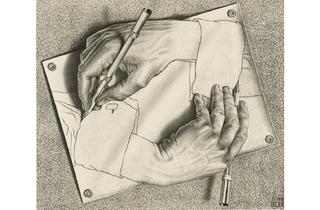 (MC Escher: 'Drawing Hands', 1948. © The M.C. Escher Company BV -Baarn-the Netherlands )