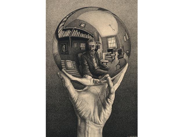 (MC Escher: 'Hand with a Reflecting Sphere', 1935. © The M.C. Escher Company BV -Baarn-the Netherlands)
