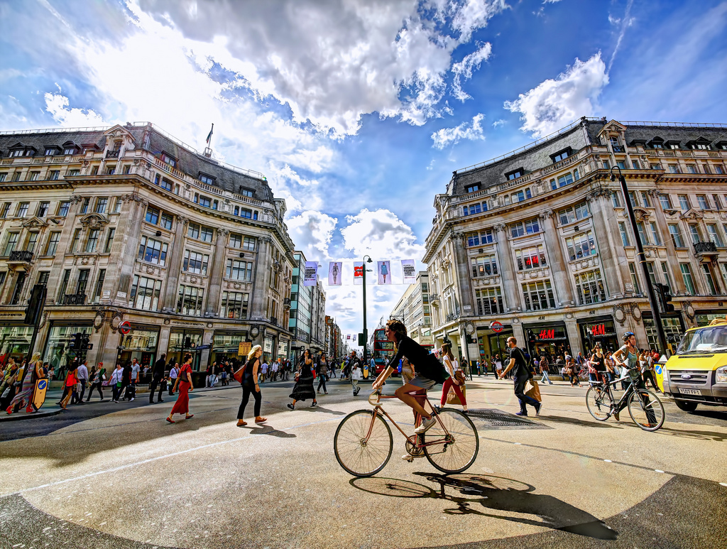 A cyclist in Oxford Circus, London.