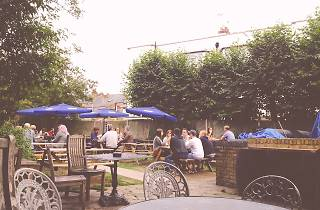 The beer garden at The Rye pub in Peckham, London.