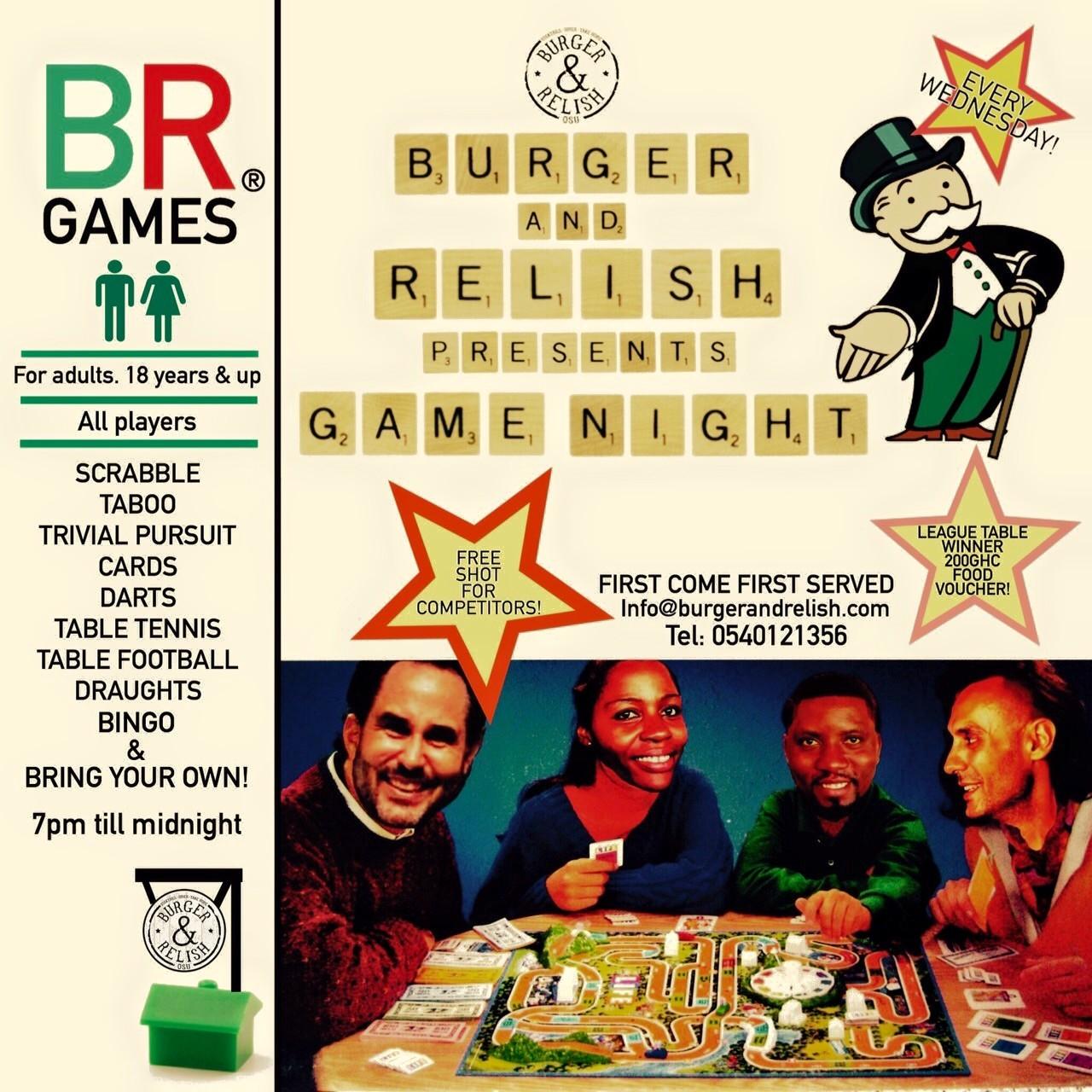 Games night at Burger & Relish | Wednesdays