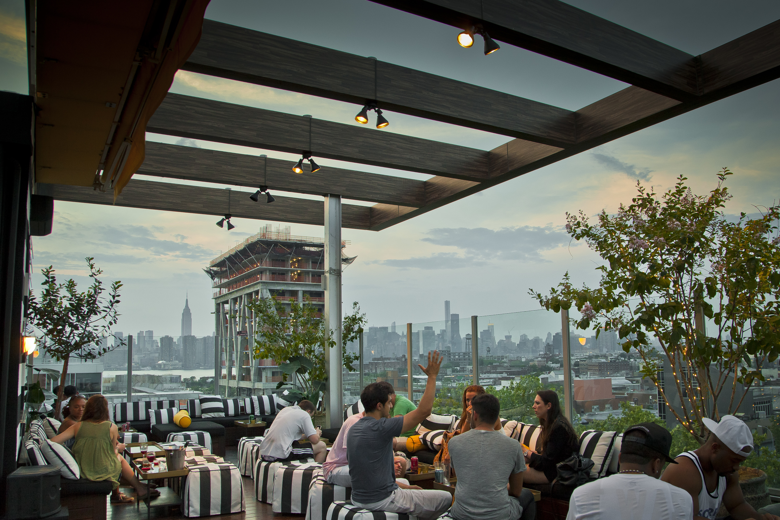 Drink at an outdoor rooftop bar