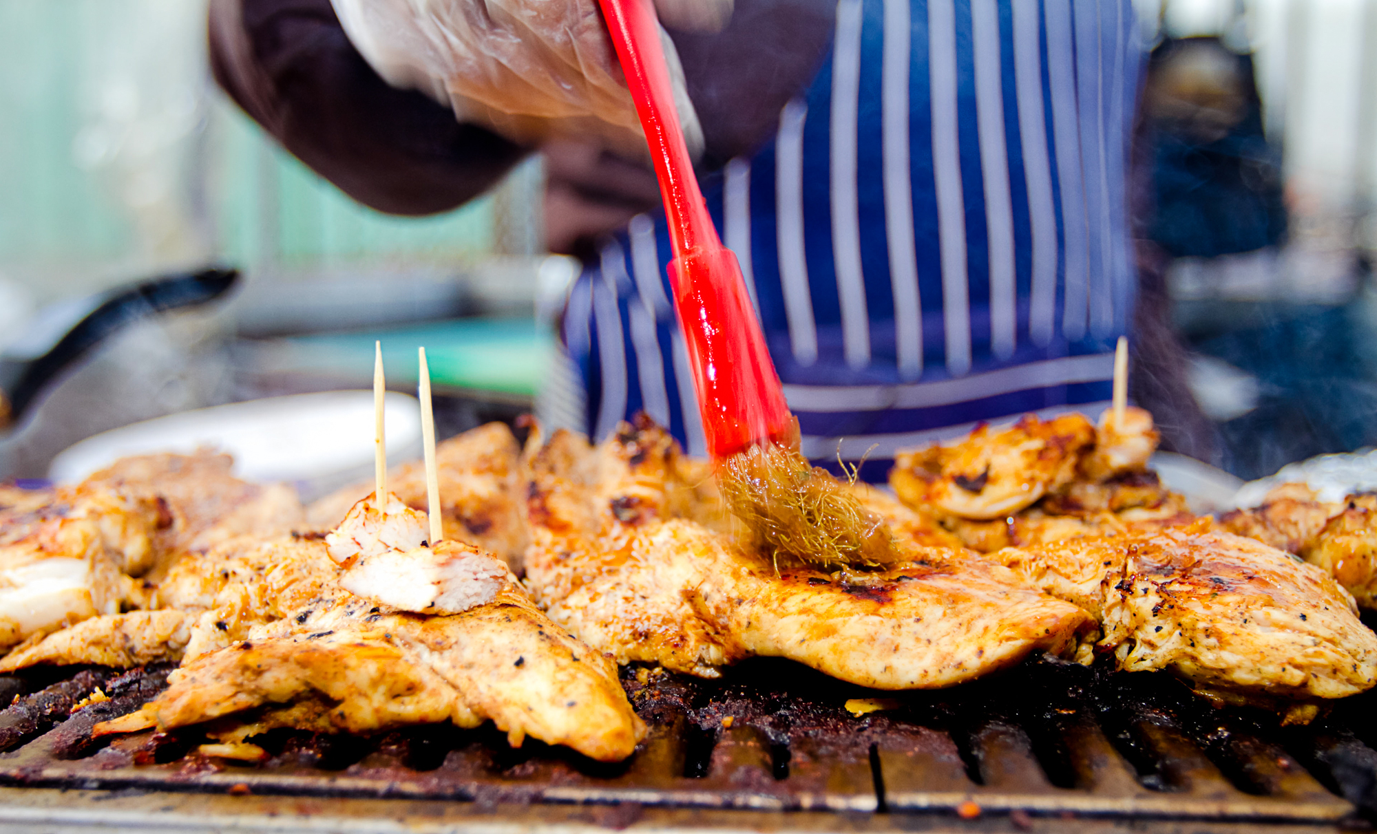 Food stalls at Notting Hill Carnival