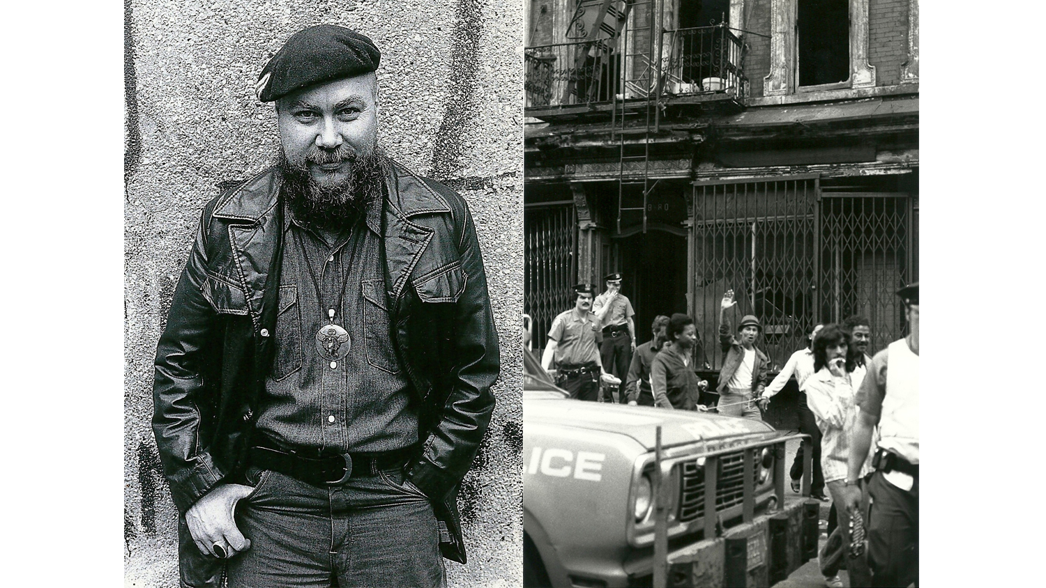 L: Artist Named Yuri, Avenue A, 1980. R: Ninth Precinct police round up drug suspects on East Fifth Street, Circa 1980