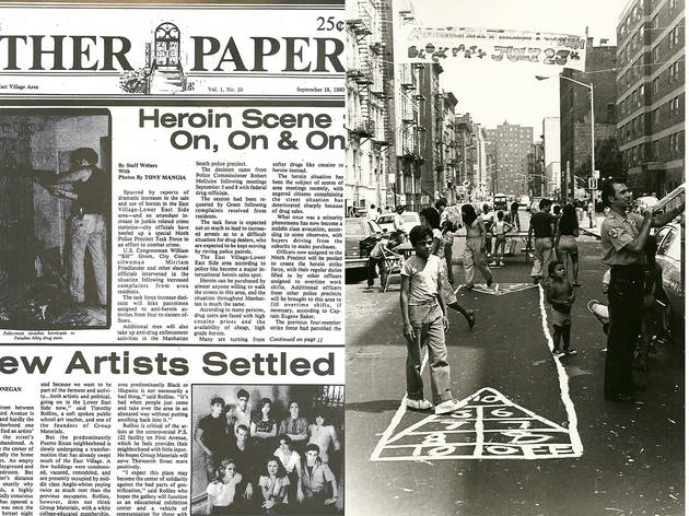 L: The Other Paper, Front Page, 1980. R: Block Party, East Fifth Street, 1980
