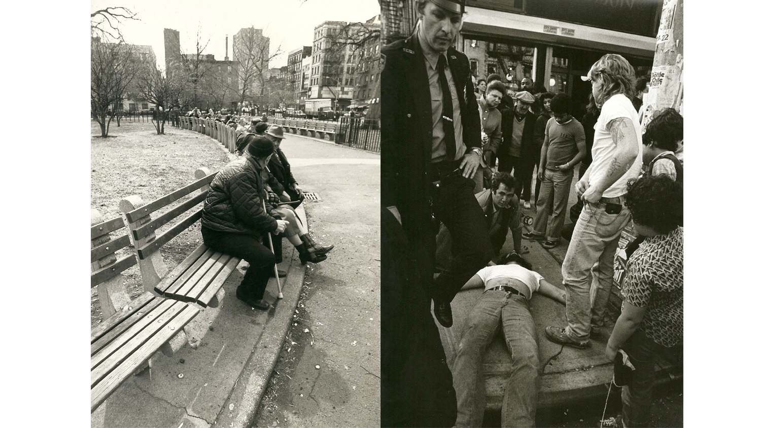 L: Tompkins Square Park, 1981. R: Overdose on Second Ave and East Fourth Street, 1981