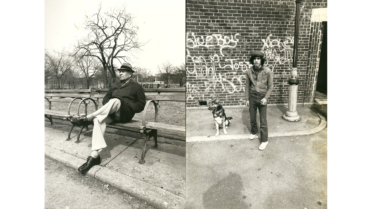 L: Tompkins Square Park, 1981. R: Man and Dog, Tompkins Square Park, 1981