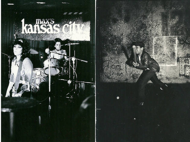 L: Harley Flanagan and The Stimulators, Max's Kansas City, 1981. R: Boy playing Stickball, East Fourth Street, 1981.