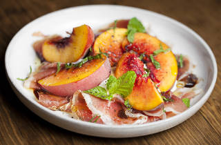 Market peach salad with house cream cheese and ham at Hatchet Ha