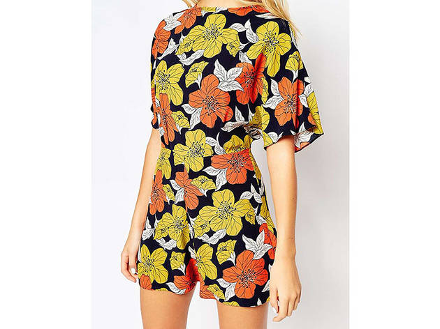 ASOS Kimono playsuit in autumn floral print, $69, at us.asos.com