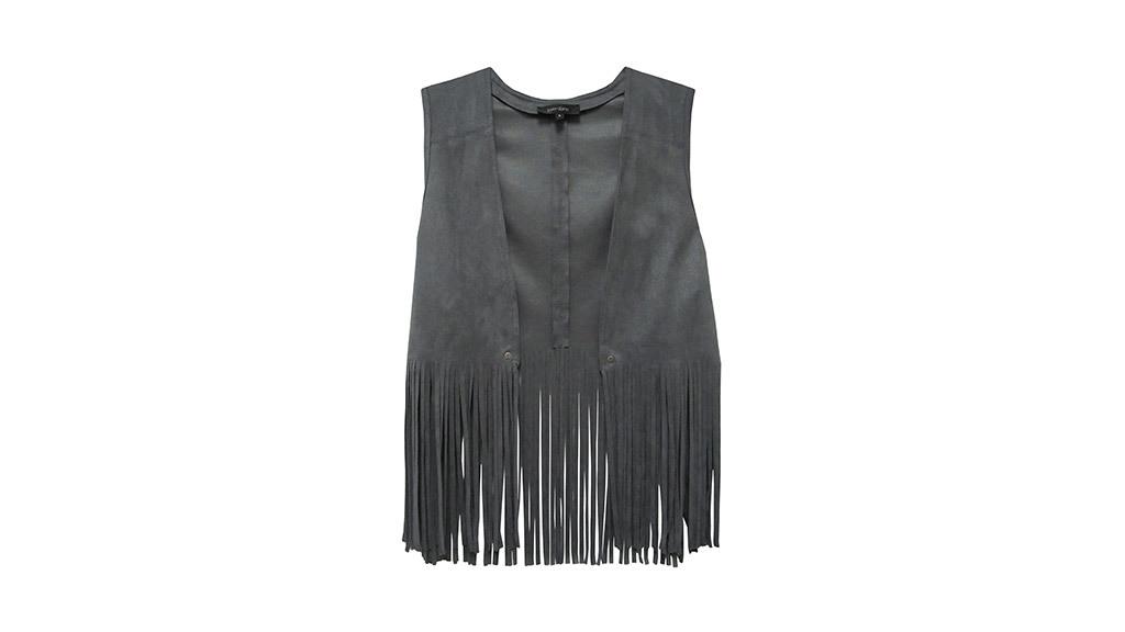 Karen Kane faux suede fringe vest, $99, at karenkane.com
