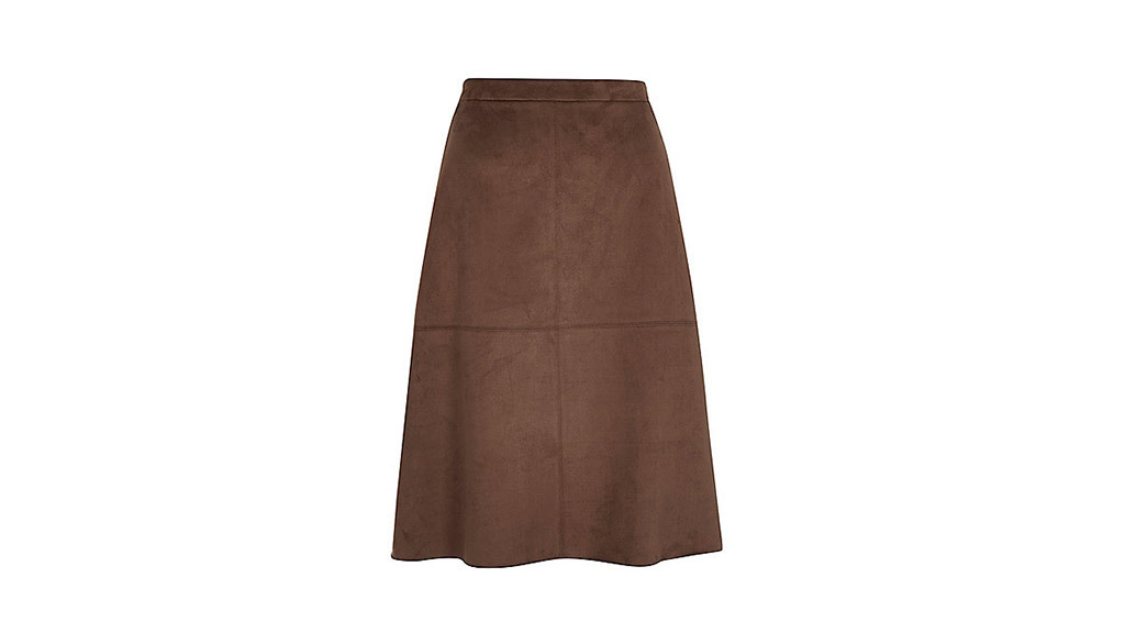 River Island brown faux suede midi skirt, $64, at us.riverisland.com