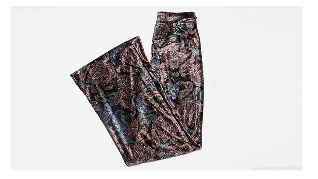 Zara printed velvet trousers, $70, at zara.com