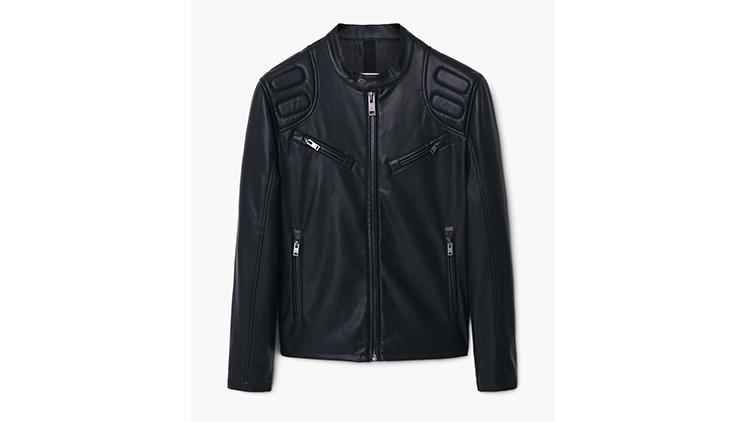 Mango men's zipped biker jacket, $90, at shop.mango.com