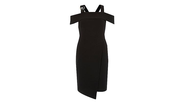 River Island black crepe wrap-skirt D-ring dress, $100, at us.riverisland.com