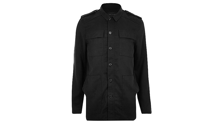 River Island men's black minimal military jacket, $110, at us.riverisland.com