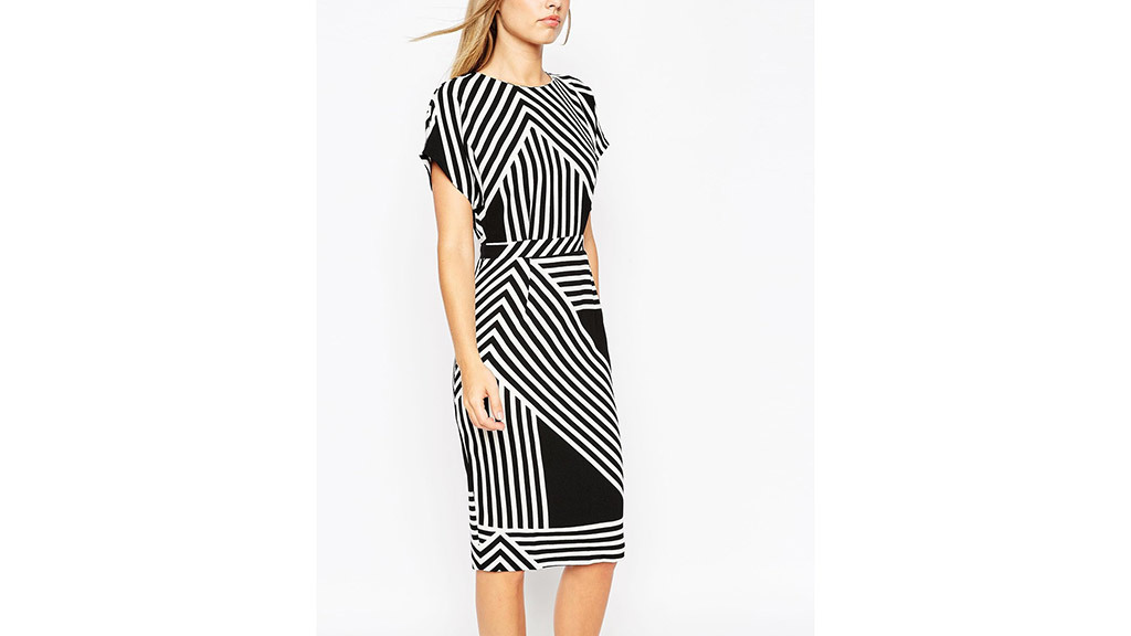 ASOS Soft open back pencil dress in chevron stripe, $86, at us.asos.com