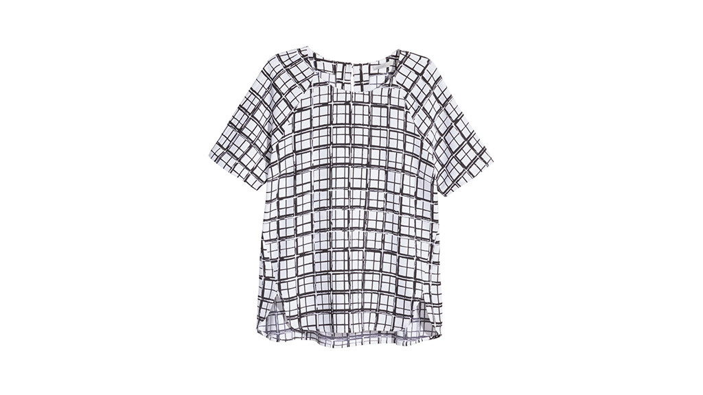 H&M patterned chiffon blouse, $25, at hm.com