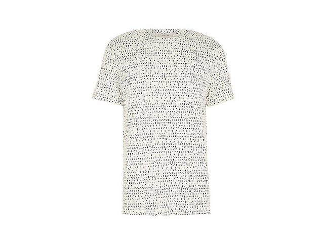 River Island Men's white graphic text print shirt, $36, at us.riverisland.com
