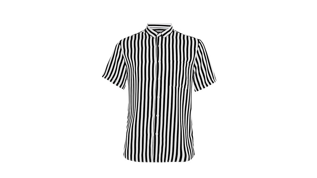 Topman black white bold stripe short sleeve smart shirt, $50, at us.topman.com