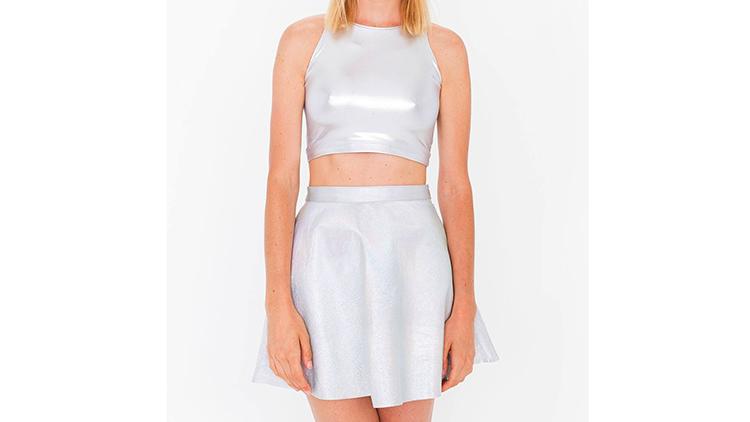 American Apparel Hologram leather circle skirt, $170, at americanapparel.com