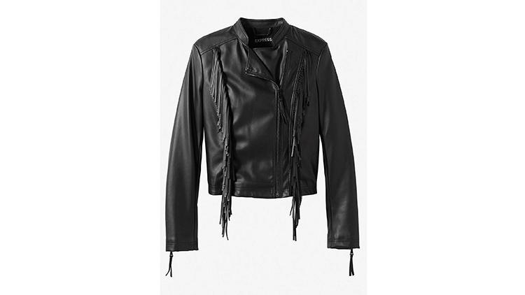 Express Fringe (Minus The) Leather jacket, $100, at express.com