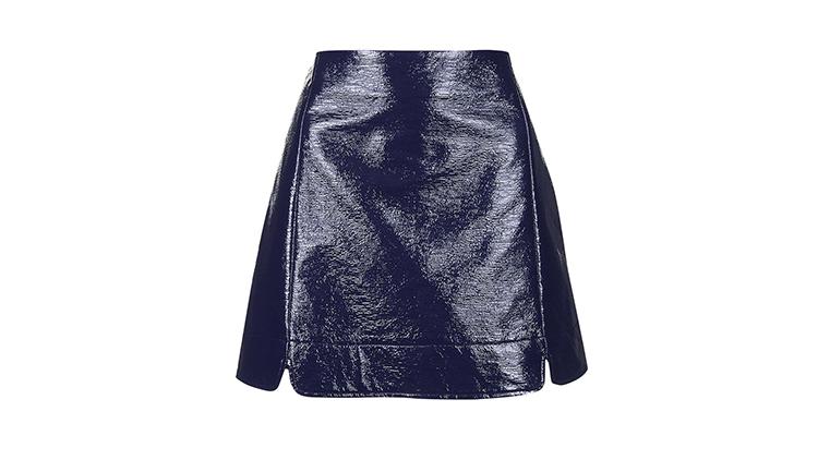 Topshop vinyl A-line skirt, $70, at topshop.com