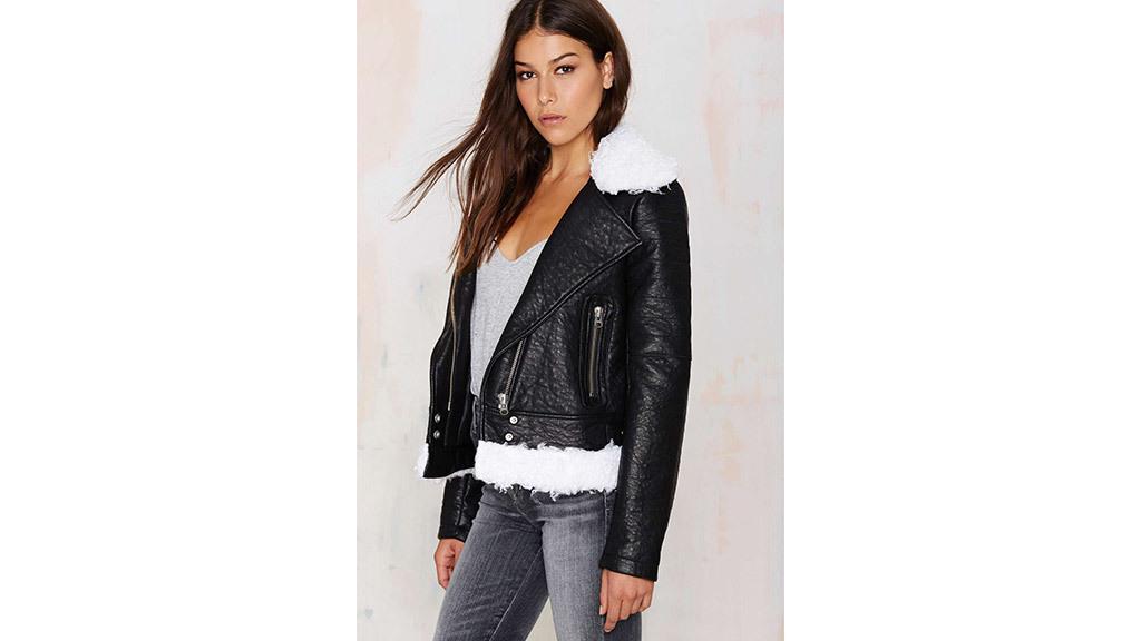 Nasty Gal Tara shearling moto jacket, $178, at nastygal.com