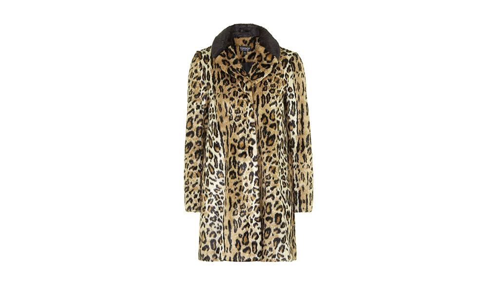 Topshop Faux fur animal print swing coat, $170, at topshop.com