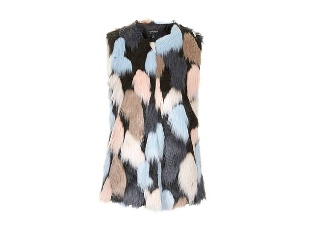 Topshop faux fur patchwork gilet, $125, at topshop.com