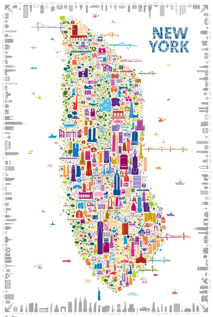 This Impressive Map Of NYC Includes Over  Local Landmarks - Nyc map landmarks