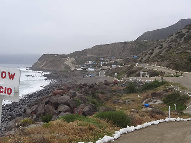 Playa Saldamando near Ensenada has campsites on a bluff overlooking the ocean.