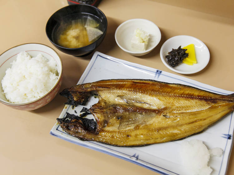 Order a fish set for breakfast