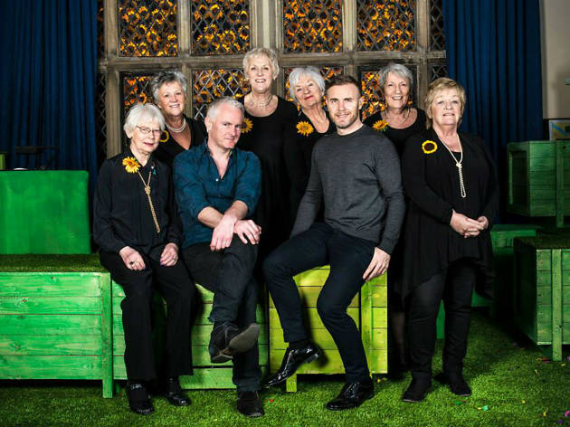 Photo of cast of The Girls, with Gary Barlow and Tim Firth