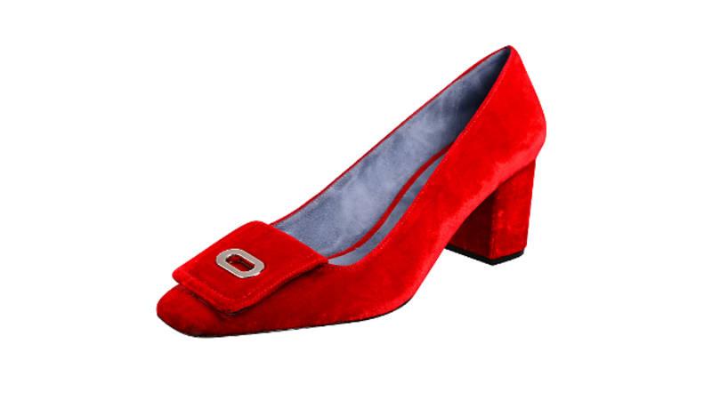 Velvet low heel courts, £125