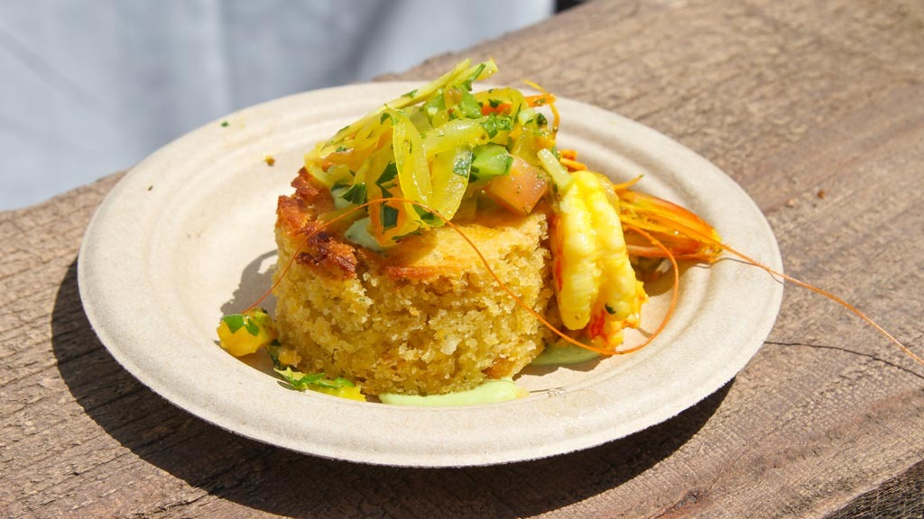 Kanuai shrimp with corn bread from Baltaire at The Taste 2015