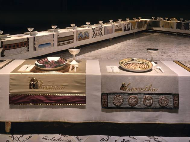(Judy Chicago, Theodora Hrosvitha place setting in 'The Dinner Party', 1974-79)